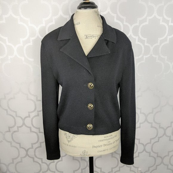 St John Black Santana Knit Crop Blazer Jacket